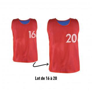 Lot de 5 chasubles réversibles numérotées (N° 16 à 20) Sporti France