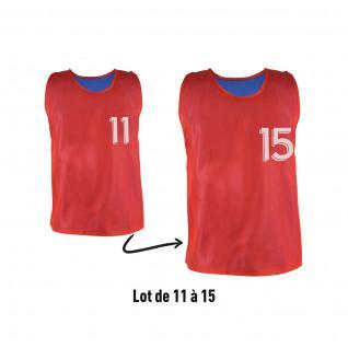 Lot de 5 chasubles réversibles numérotées (N° 11 à 15) Sporti France