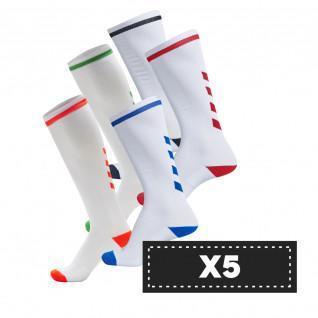 Lot de 5 paires de chaussettes claires Hummel Elite Indoor high (coloris au choix)