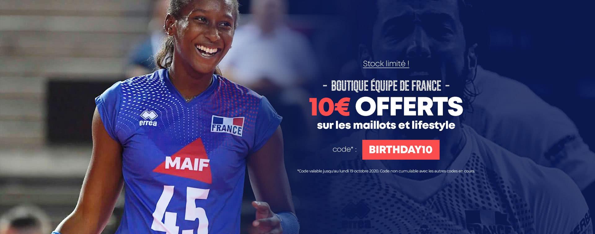 10€ offerts sur les maillots de l'équipe de France de volleyball